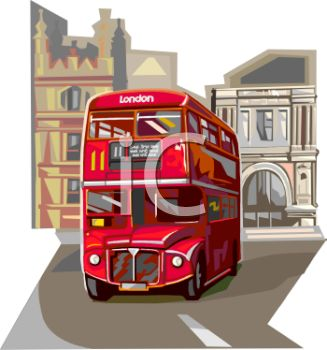 Realistic Style Double Decker Bus in London