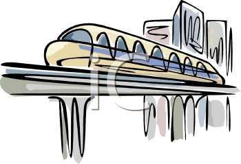 Monorail Train in a City