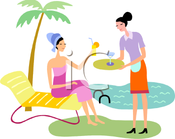 Maid Serving Drinks to a Wealthy Woman By the Pool