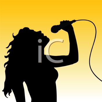 Silhouette of a Young Beautiful Woman Singing
