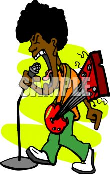 Black Guy with an Afro Singing and Playing the Guitar