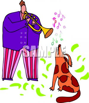 Man Playing a Horn with His Singing Dog