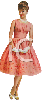 Royalty Free Clip Art Image Woman Wearing A Vintage Dress