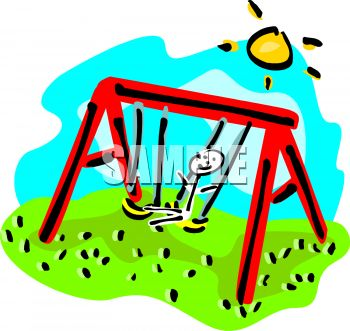 Stick figure kid swinging on a playground swing