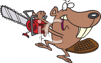 Cartoon of a Cheating Beaver Using a Chainsaw