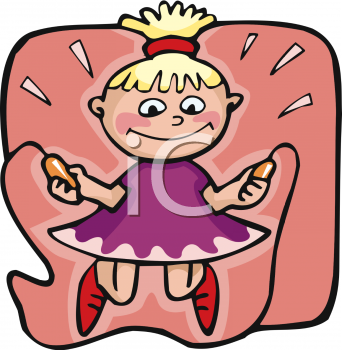 Cartoon of a Little Blond Girl Jumping Rope