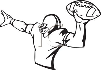 Black And White Football Player Throwing The Football Royalty Free