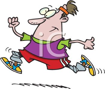 Cartoon of a Man running with Weights on His Ankles