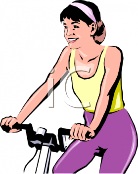 Realistic Style Woman Exercising on a Stationary Bike