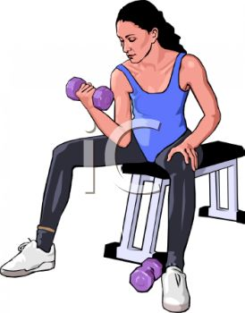 Realistic Style Woman Doing Bicep Curls with Small Weights
