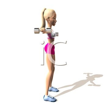 3D Girl Working Out with Hand Weights