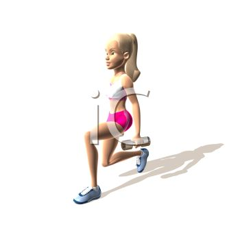 3D Girl Working Out  Lunging with Hand Weights