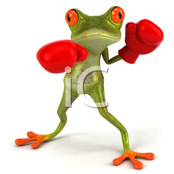 3D Red Eyed Frog Wearing Boxing Gloves