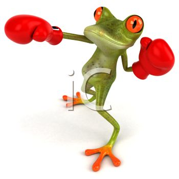 3D Frog Punching with Boxing Gloves On