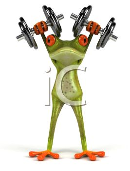 3D Frog with Hand Weights Above His Head