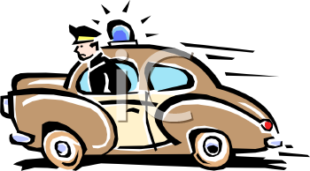 Cartoon of a Retro Policeman Driving Fast