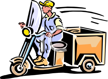 Cartoon of a Vintage Delivery Guy on a Scooter with a Box on the Back