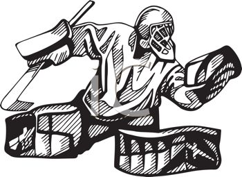 Hockey Goalie In Black And White Royalty Free Clip Art Illustration