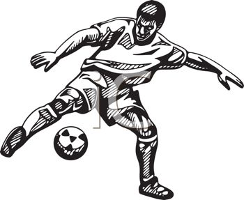 Black and White Soccer Player