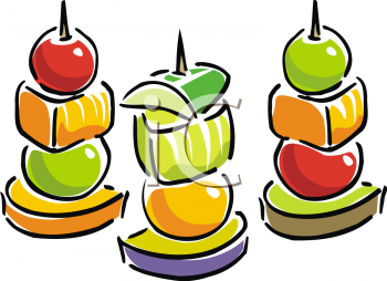 Cartoon Style Food-Fruit on Skewers