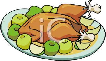 Cartoon Style Food-Fruit and Chicken - Royalty Free Clip Art Picture