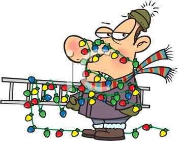Cartoon of a Dad Tangled Up in Christmas Lights