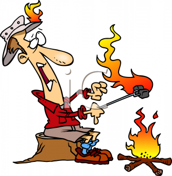 Cartoon of a Man Camping Catching on Fire