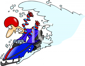 Cartoon of a Man on a Snowmobile Outrunning an Avalanche