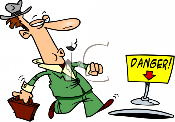 royalty free clipart image cartoon of a man about to fall into a hole