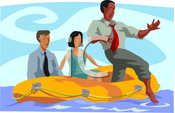 Concept of a Businessman Taking a Risk-People in a Raft with One Stepping Out