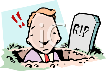 Cartoon of a Businessman Digging His Own Grave