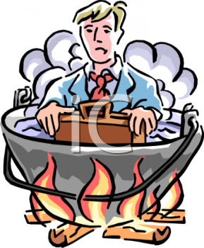 Businessman in Hot Water Metaphor