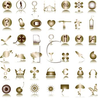 Large Collection of Various Symbols on Metallic Buttons Icons