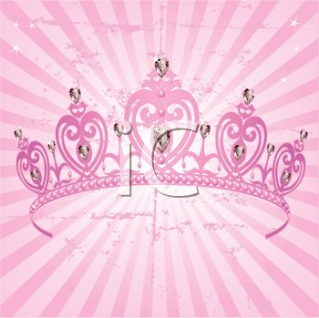 free princess crown clipart. Pink Tiara with Diamonds