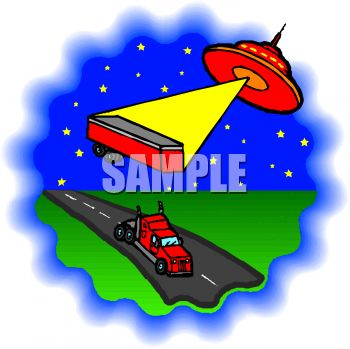 Cartoon of a Flying Saucer Beaming Up a Truck Trailer
