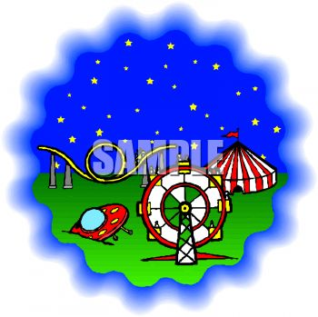 Cartoon of a Flying Saucer Crash Landing in an Amusement Park