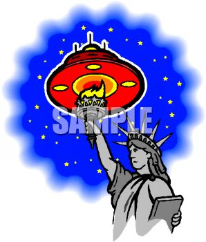 Cartoon of a Spaceship Flying Over the Statue of Liberty