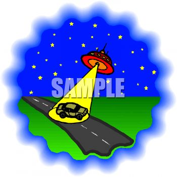 Cartoon of a Flying Saucer Beaming Up a Car
