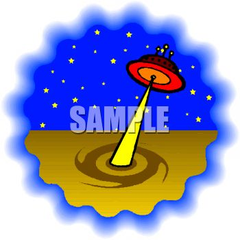 Cartoon of a Flying Saucer Making a Crop Circle