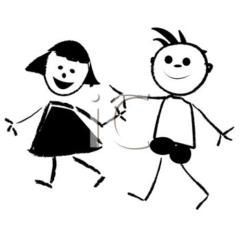 "This ""cartoon kids, a boy and girl holding hands"" clip art image is"