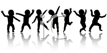 Silhouettes of Cute Babies Dancing