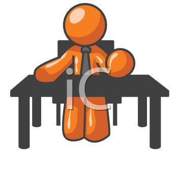 Orange Man Character Depicting a Boss Behind a Desk