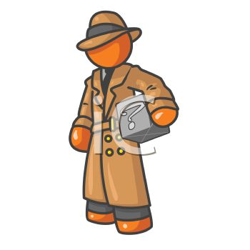 Orange Man Character Depicting a Private Detective