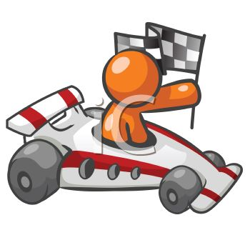 Orange Man Character Depicting a Race Car Driver