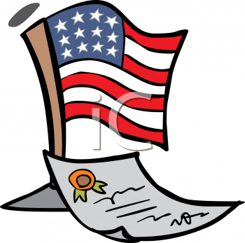 4th of July Cartoon of the American Flag and the Declaration of Independence