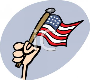 4th of July Cartoon of a Hand Holding the American Flag
