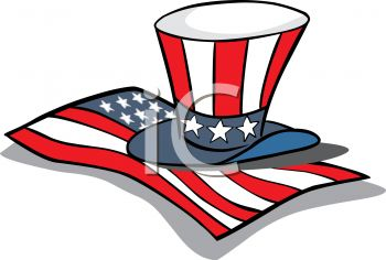 4th of July Cartoon of Uncle Sam's Hat and a Flag