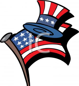 4th of July Cartoon of an American Flag and Uncle Sam Hat