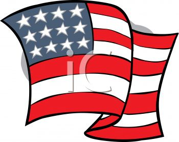 4th of July Cartoon of Wavy American Flag
