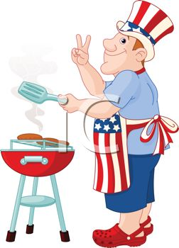 Cartoon of a Dad Grilling Burgers for the 4th of July